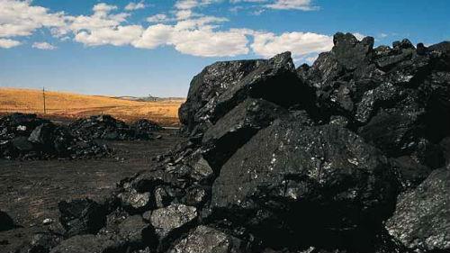 большая куча угля