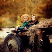 Дети на телеге