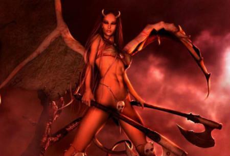 женщина-демон с крыльями на красном фоне