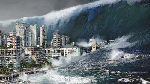 цунами накрывают дом