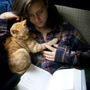 Девушка и кошка за книгой