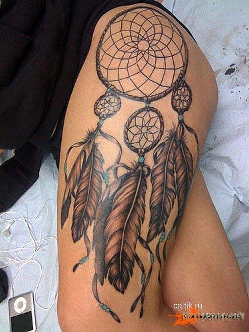татуировка Ловец снов на бедре