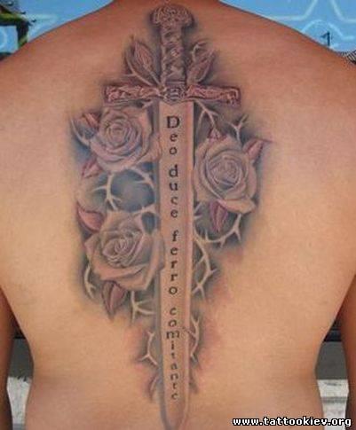 Меч татуировка, шпага, копье