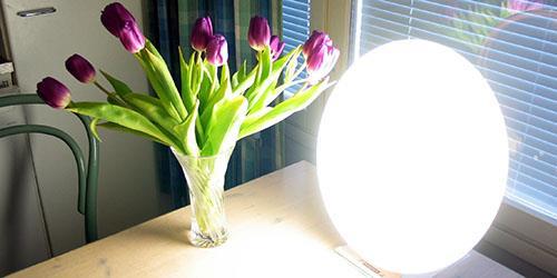 светит лампа